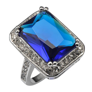 Women's Fashion Ring - Exquisite Blue Crystal Stone 925 Sterling Silver Ring For Women