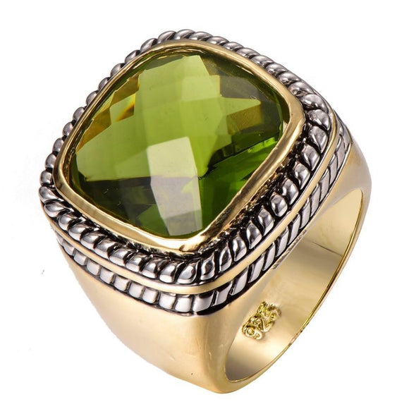 Men's Fashion Ring - Olive Green Crystal Stone Fashion Ring For Men