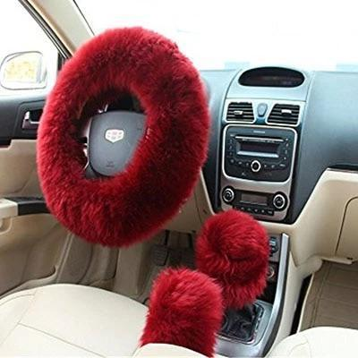 Car Steering Wheel Cover - Three(3)Pcs Plush Fur Steering Wheel, Handbrake And Gear Cover Set