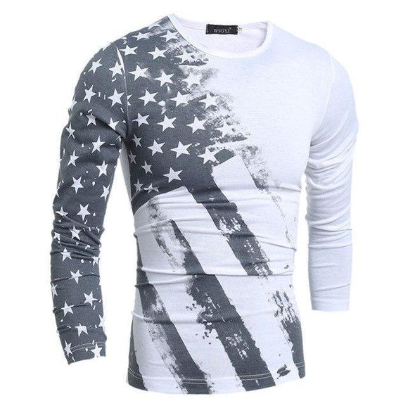 T-shirt - Flag Printed Long Sleeve T-shirts