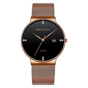 Wristwatch - Slim Steel Mesh Strap Date Waterproof Sports Watch