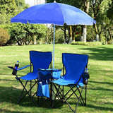 Outdoor Furniture - Portable Picnic Umbrella With Fold-able Table, Two (2) Chairs And Mini Cooler