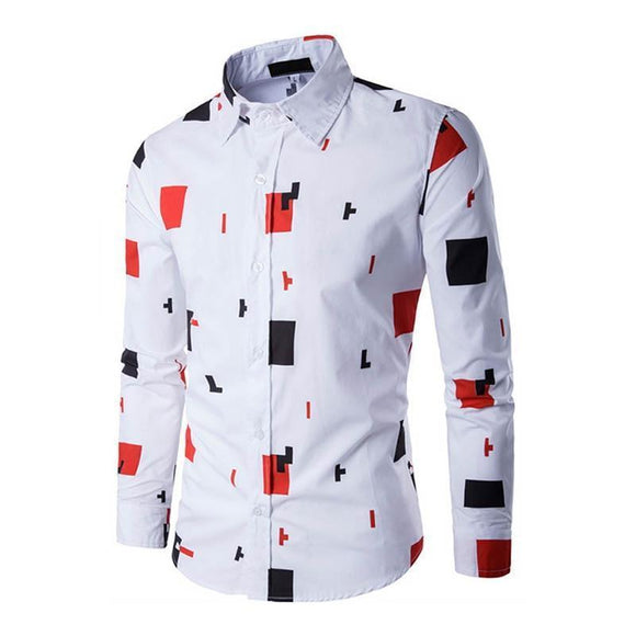 Men's Shirt - Slim Fitting Long Sleeve Geometric Print Casual Shirt