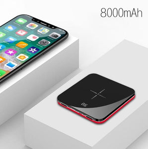 Ultra Thin Mini Portable Power Bank 8000mAh QI Wireless Charger