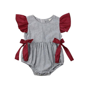 Baby Girl Clothes - Ruffled Short Sleeved Stripe Sunsuit