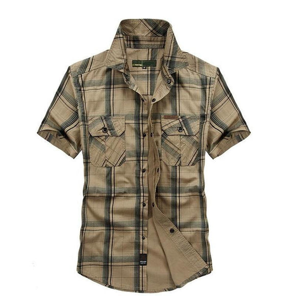 Men's Short Sleeved Shirt - Plus Size 100% Cotton Men's Short Sleeve Shirt