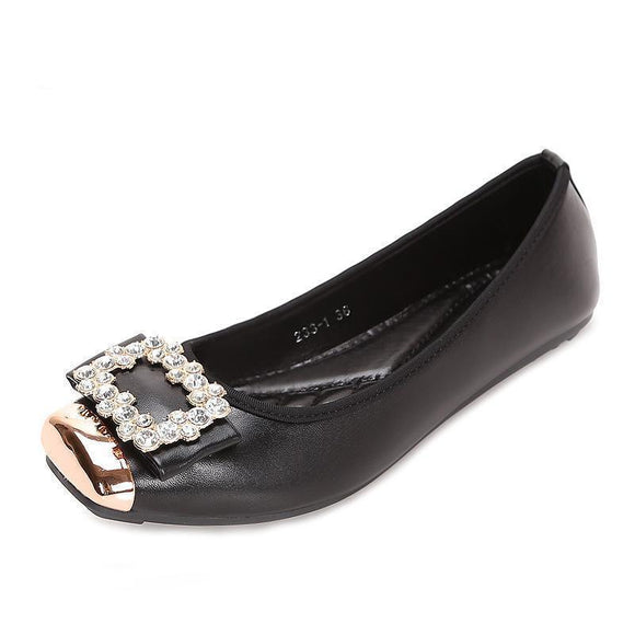 Women's Shoes - Comfortable Soft Leather Rhinestone Flats