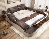 Bedroom Furniture - Genuine Leather With Massage Pad, Speakers, Storage Space And Pop-out Desk
