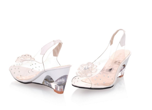 Sandals - Transparent Floral Wedge Sandals