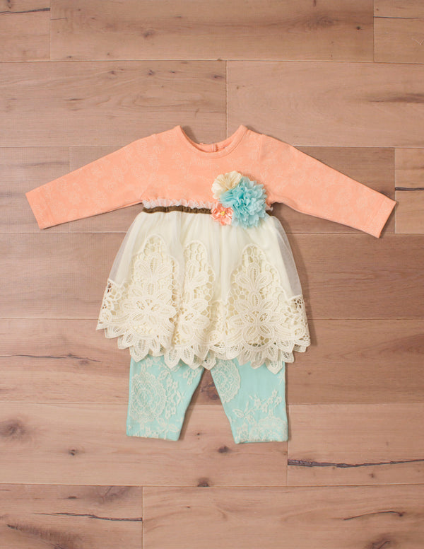 Peaches N Cream Peach Lace Dress With Leggings Cherish Children S