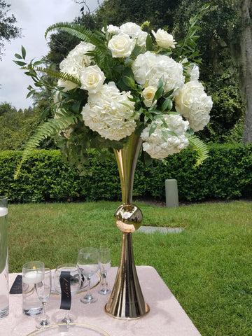 "29"" Reversible Gold Trumpet Vase for Rent (Central FL) - ADR Decor"