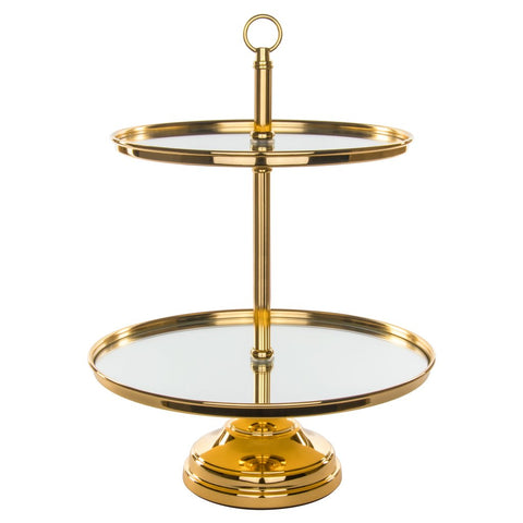 2 Tier Dessert Stand Gold Plated Rental - ADR Decor
