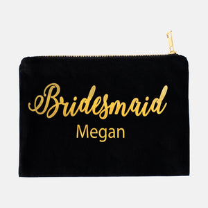 Personalized Bridesmaid Makeup Foil Bag - ADR Decor