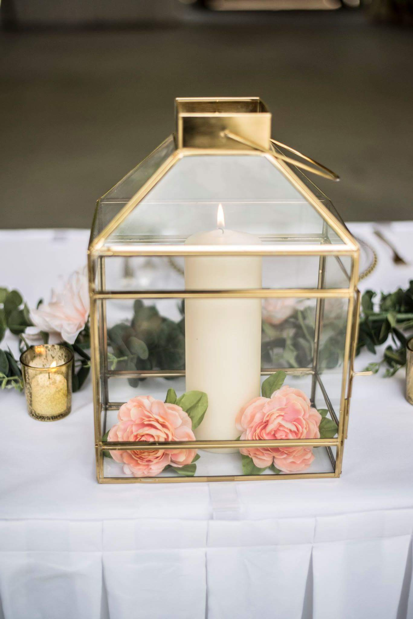 Large Glass Gold  Lantern for Rent - ADR Decor