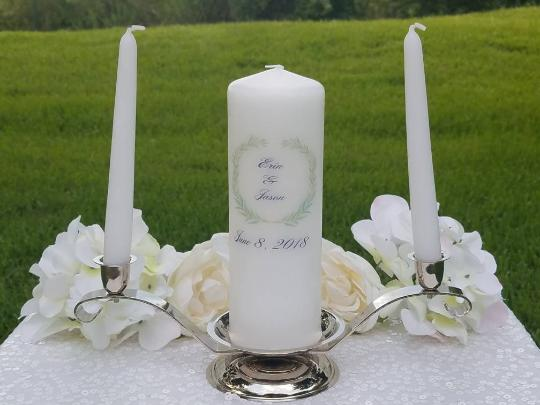 Greenery Personalized Unity Candle - ADR Decor