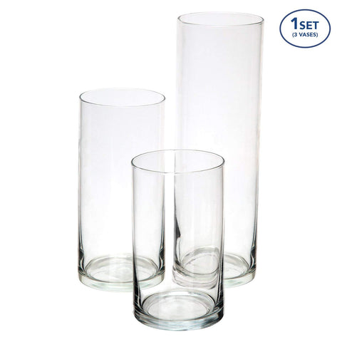 "Cylinder Vase Set of 3 for Rent-6"",7.5"",10"" - ADR Decor"
