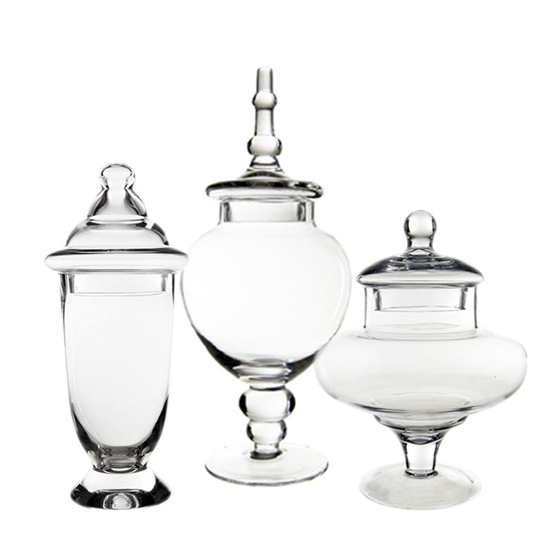 Apothecary Glass Buffet Candy Jars set of 3 - ADR Decor