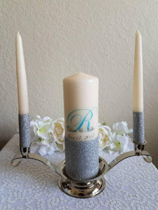 Aqua and Silver Glitter Personalized Unity Candle Set - ADR Decor