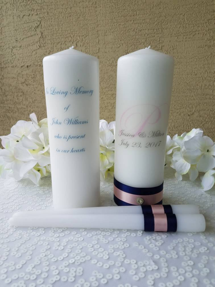 Navy And Blush Personalized Unity Candle Set Memorial Candle