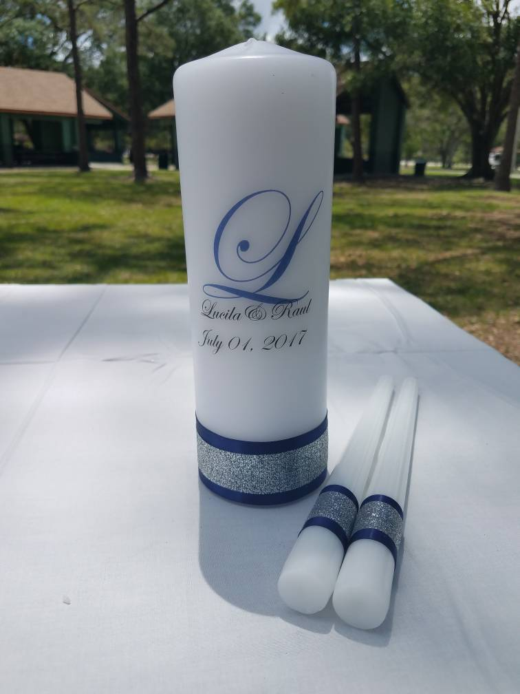 Navy And Silver Personalized Unity Candle Set