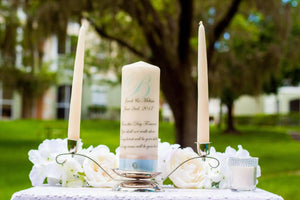 Blue and Metallic Taupe Personalized Unity Candle Set - ADR Decor