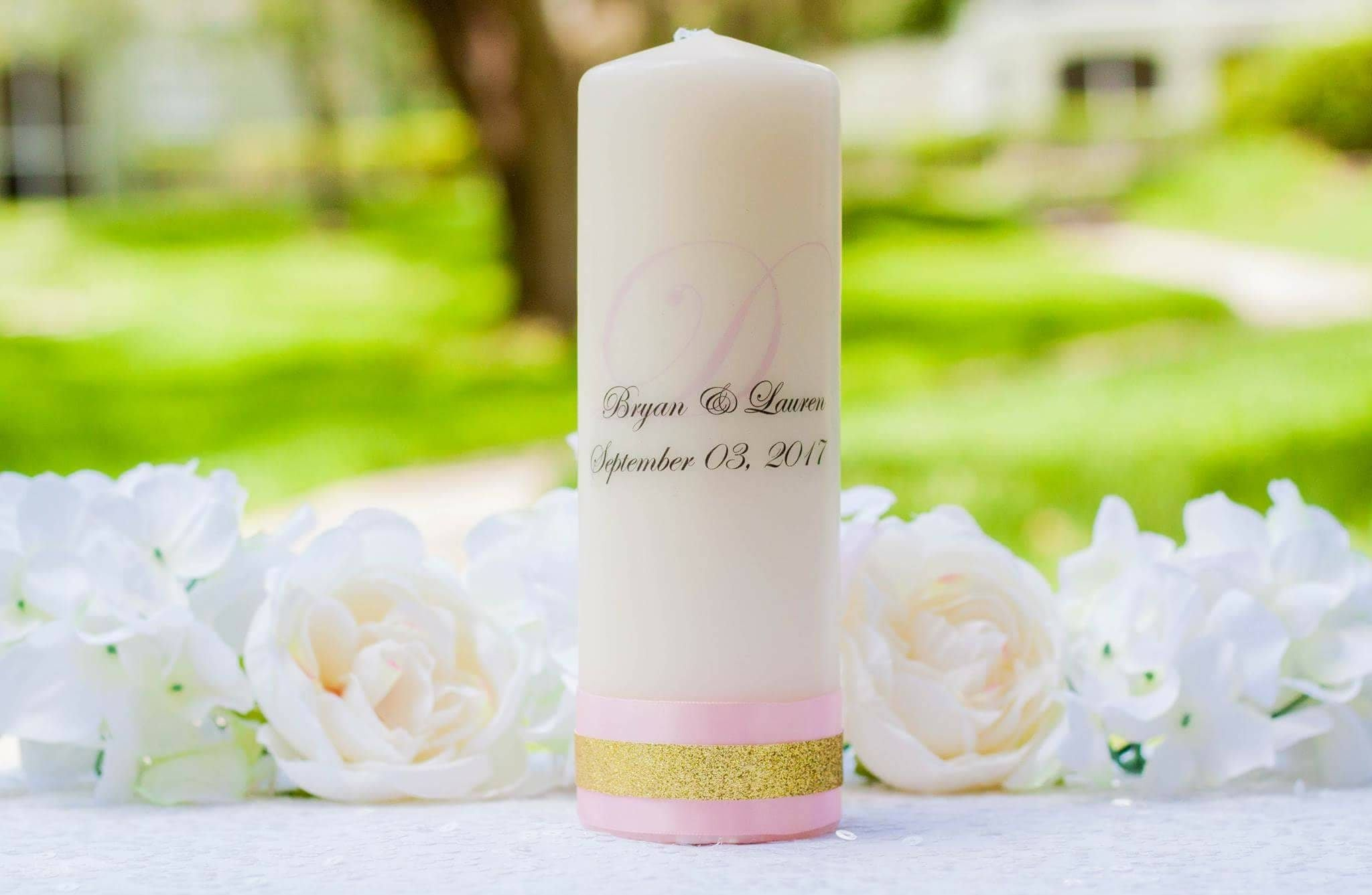 Blush and Gold Personalized Unity Candle Set - ADR Decor