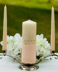 Light Pink Glitter Personalized Unity Candle Set - ADR Decor