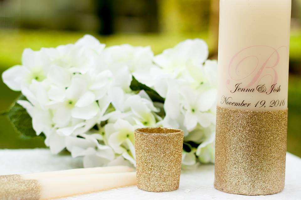 Blush and Gold Glitter Personalized Unity Candle Set - ADR Decor