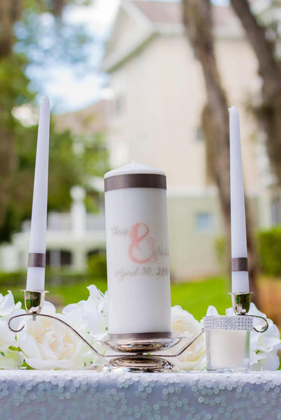 Blush & Gray Personalized Unity Candle Set - ADR Decor