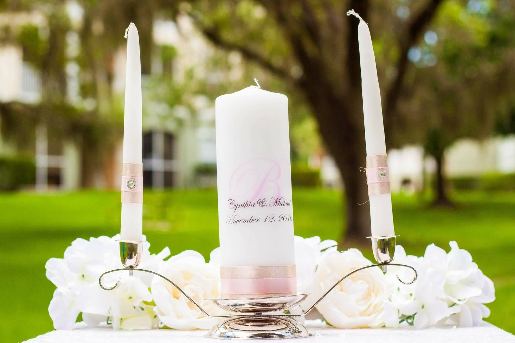 Personalized Unity Candle Set, Champagne & Rose Candle - ADR Decor
