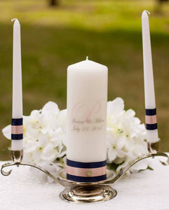 Navy and Blush Personalized Unity Candle Set - ADR Decor