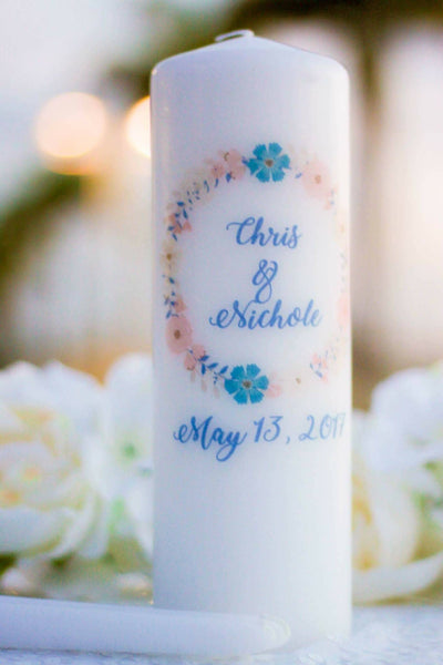 Navy and Blush Wreath Personalized Unity Candle Set - ADR Decor