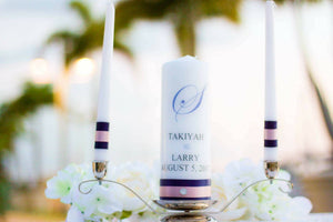 Navy and Blush (Vertical) Personalized Unity Candle Set - ADR Decor