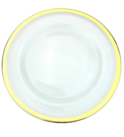 Glass Gold Rimmed Charger Plate for Rent