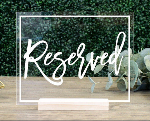 Acrylic Reserved Signs Rental - ADR Decor