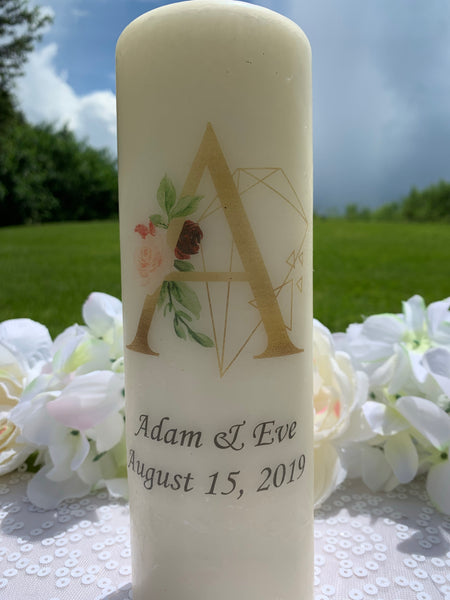 Burgundy and Gold Personalized Unity Candles - ADR Decor