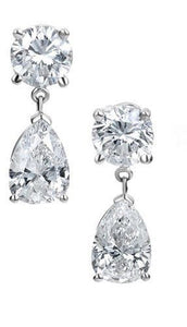 2.73ctw Pear Shape and Round Diamond Tear Drop Earrings