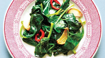 Wilted Spinach with Fresh Red Chile