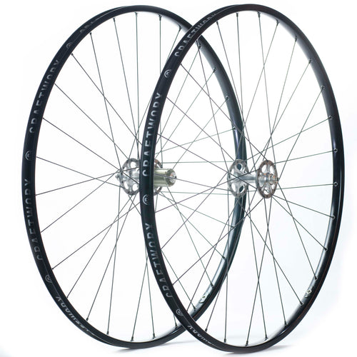 H Plus Son TB14 Wheels 28 Hole Black With Craftworx High Flange Hubs