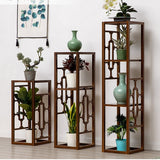 Premium Bamboo Wooden Plant Stand Decoration Shelf Carved Storage Elegant