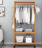 Bamboo Multi-Tier Racks Shelves panel storage Clothes Organizer With Wheels 竹衣架