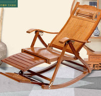 Bamboo Rocking Chair Adjustable Foldable Recliner Rocking Chair Foot Massage