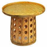 Bamboo Table Bamboo Handwoven Handmade Round Coffee Tea Dining Table Artwork