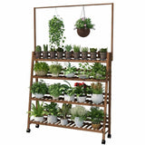 Plant Stand Shelf With Hanging Bar Pinewood Solid Garden Decor Indoor Outdoor