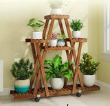 Premium Wooden Plant Stand Multi Tiers Indoor Outdoor Ladder Storage Garden