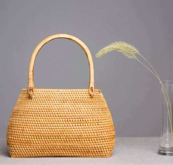 Bamboo Bag Natural Handwoven Handcrafted Women Hand Carrier Bag Artwork