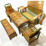 Bamboo Handcrafted Coffee Dining Table Chairs Set Furniture Relaxing 6 PCs Set