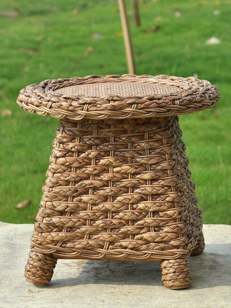 Bamboo Stool Natural Handwoven Handmade Stool Artwork Strong Elegant 竹麻编制凳