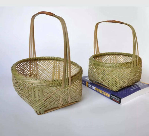 Bamboo Handwoven Handmade Fruit Vegetable Storage Basket Artwork Practical Use