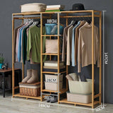 Bamboo Coat Cloth Garment Hanger Holder Rack Stand Organizer Simple Stylish